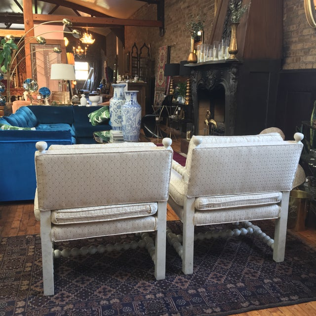 Image of Mid-Century Turned Wood Chairs - A Pair
