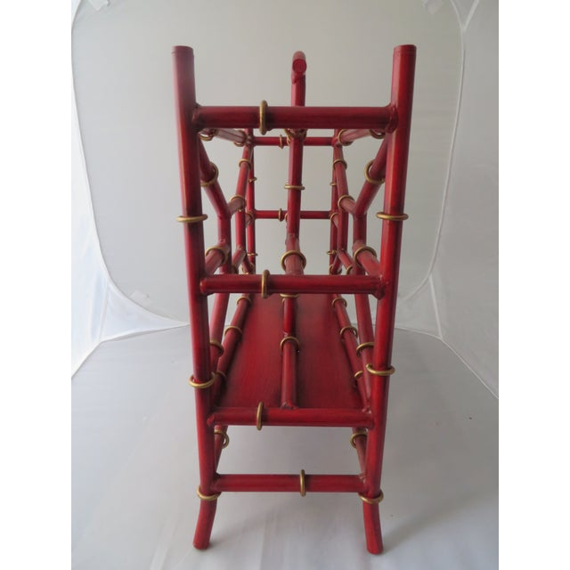 Red Metal Bamboo Magazine Rack - Image 3 of 3