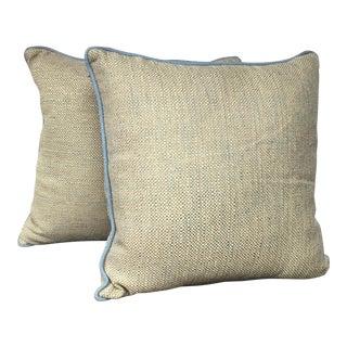 Blue & Gold Kravet Pillows - A Pair