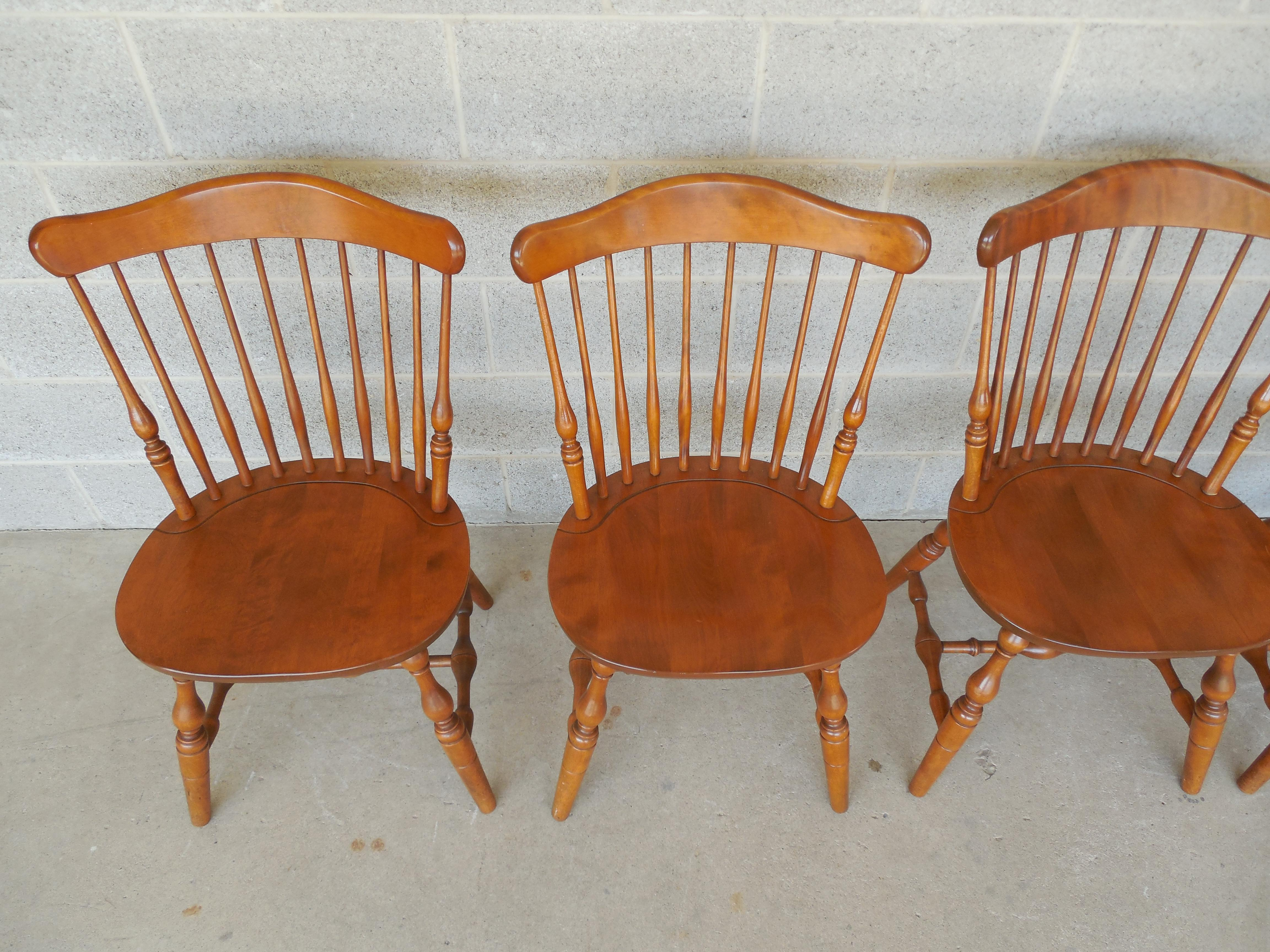 S Bent Bros Set Of 6 Colonial Windsor Fan Back Maple Chairs   Image 3 Of