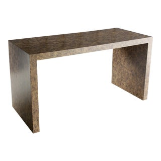 Waterfall Desk with Laminate Faux Burl Finish