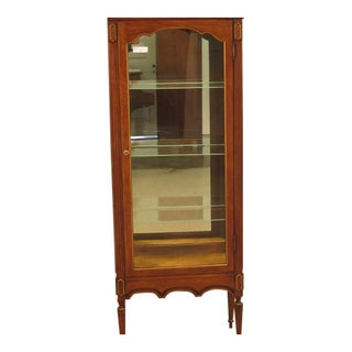 French Louis XVI Walnut Vitrine Curio Cabinet