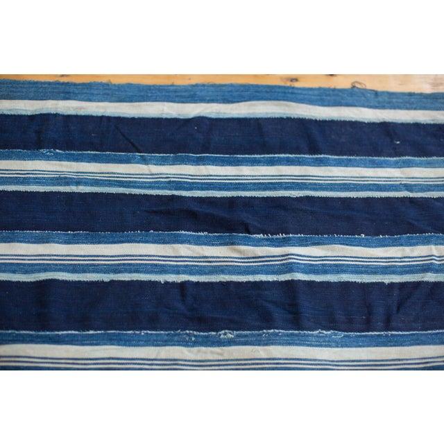 "Indigo Blue Striped Throw - 1'10"" x 4'3"" - Image 4 of 4"