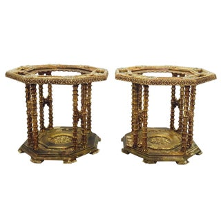 Hollywood Glam Gold Gilt Side Tables - Pair