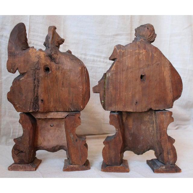 18th C. Wood Figure Carvings - Pair - Image 9 of 10