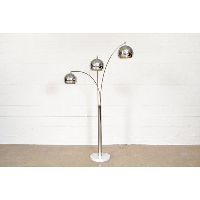 Mid Century Sonneman Style 3 Light Chrome Arc Floor Lamp With Marble Base Chairish