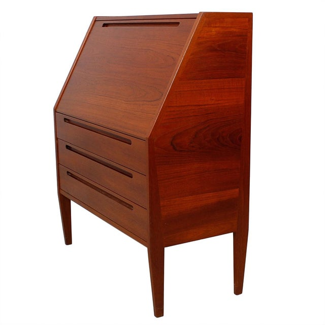 compact danish modern teak secretary desk chairish. Black Bedroom Furniture Sets. Home Design Ideas