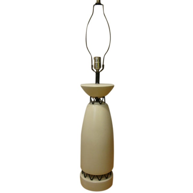 Rembrandt Style Matte White Pottery Lamp - Image 1 of 10