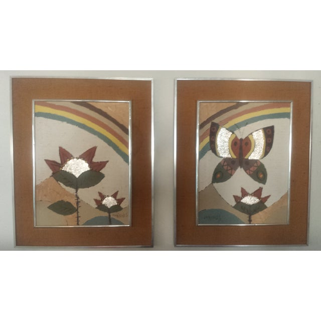 Image of Lee Reynolds Rainbow Oil/Foil Paintings - A Pair