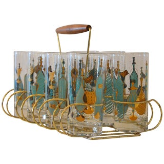 Eight Mid-Century Tom Collins Glasses with Exotic Barware Decoration and Caddy