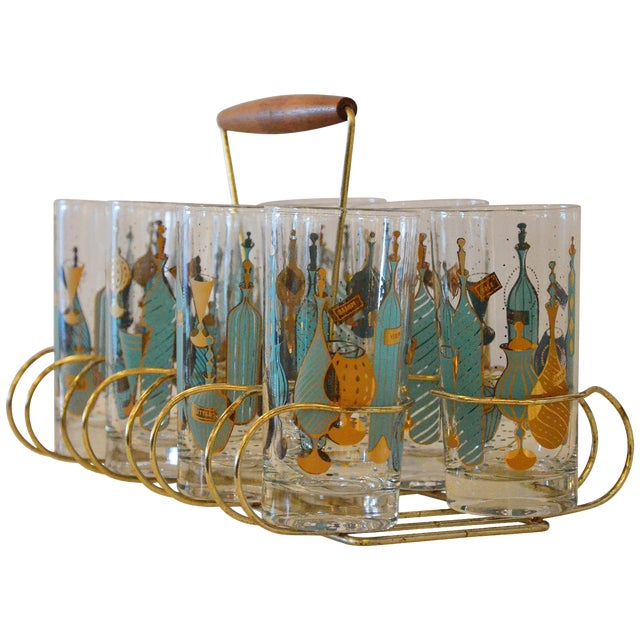 Eight Mid-Century Tom Collins Glasses with Exotic Barware Decoration and Caddy - Image 1 of 5