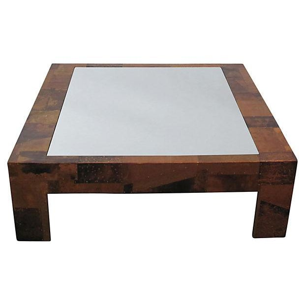 Copper Patchwork Coffee Table With Glass Insert Chairish