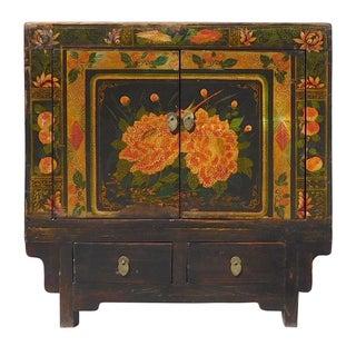 Oriental Black & Orange Floral Side Cabinet