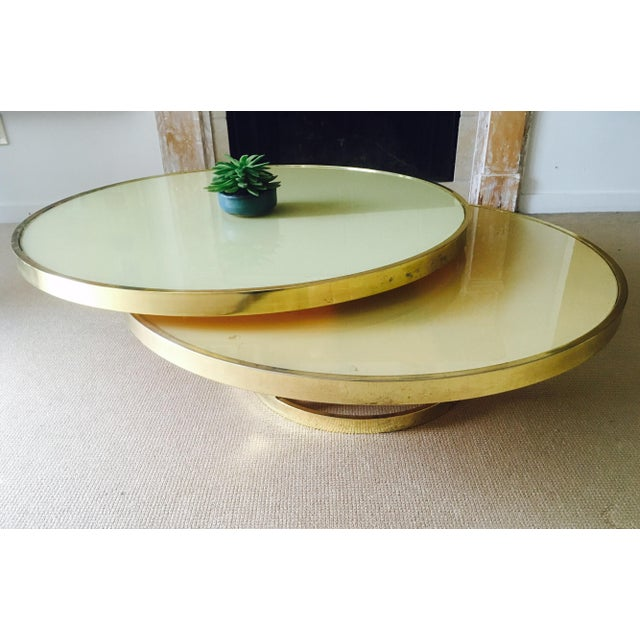 Mod Two Tier Brass & Glass Swivel Coffee Table