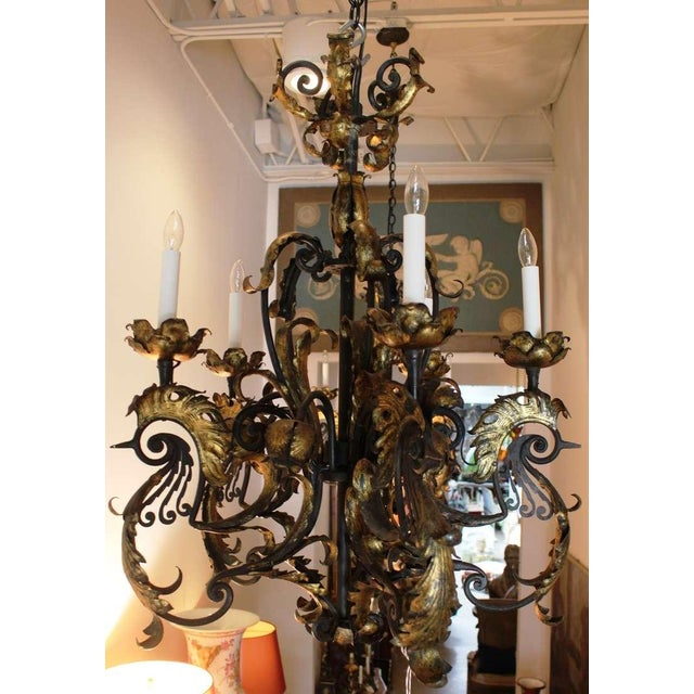 Image of Pair of French Forged and Gilt Iron Chandeliers