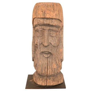 19th Century Hand-Carved Wood Head from Pennsylvania on Mount