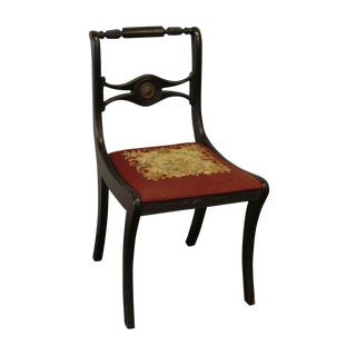 Wooden Black Chair With Red Floral Upholstered Seat