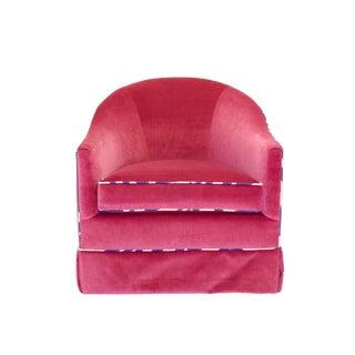 Mid Century Modrn Pink Velvet Swivel Chair