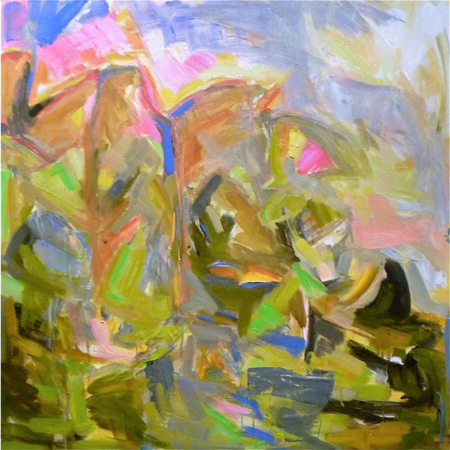 "Large Abstract Painting by Trixie Pitts ""Mountain Falls"" - Image 1 of 3"