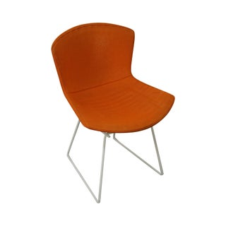 White Wire Frame Side Chair With Orange Cover
