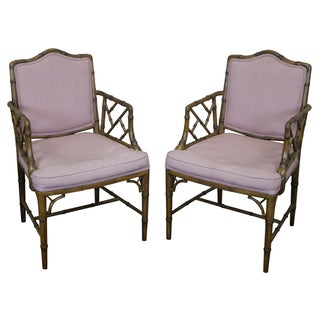Faux-Bamboo Chinese Chippendale Armchairs - A Pair