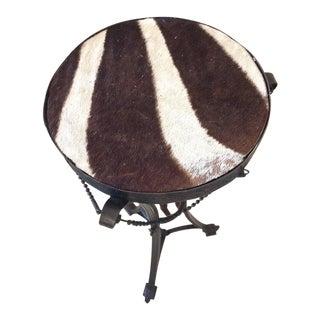 Antique French Bronze & Zebra Hide Gueridon Table
