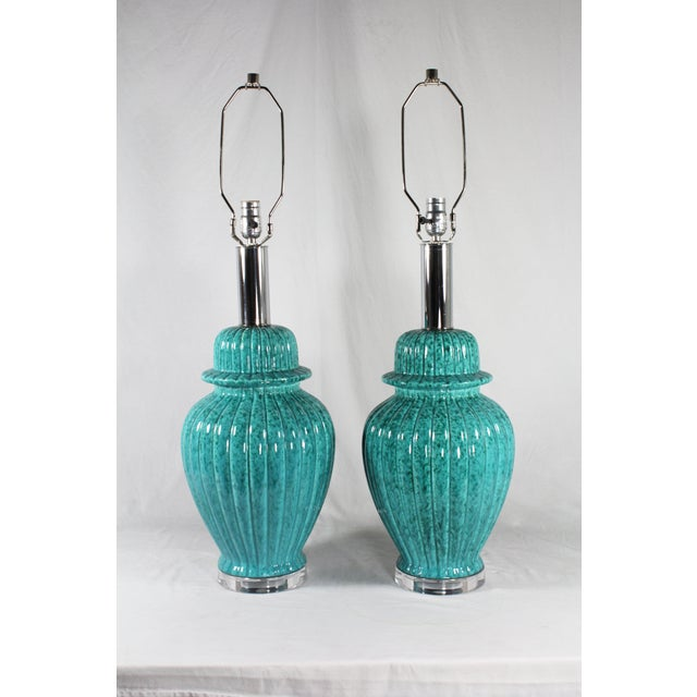 Image of Paul Hansen Turquoise Ginger Jar Lamps - A Pair