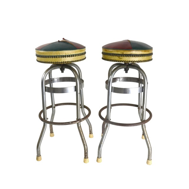 Pub Stools with Leather Seats - A Pair - Image 1 of 4