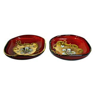 Vintage Venetian Glass Red Bowls - A Pair