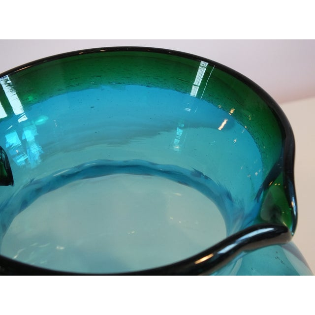 Image of Vintage Blenko Optic Blue & Green Glass Pitcher