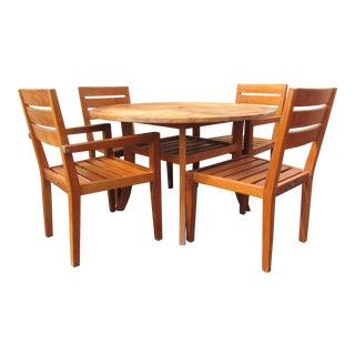 Teak Garden Round Umbrella Table & 4 Chairs