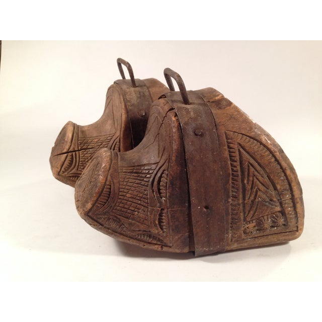 Image of Carved Wooden South American Stirrups - A Pair