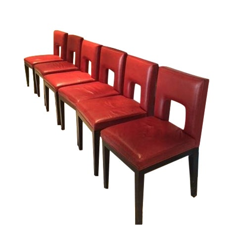 Red Custom Made Dining Chairs - Set of 6 - Image 1 of 8