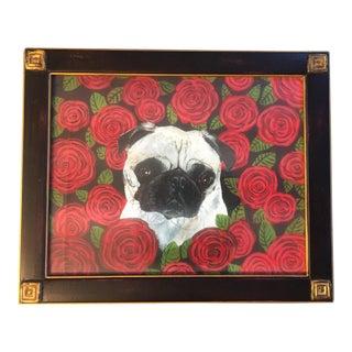 Pug With Roses Dog Print by Judy Henn