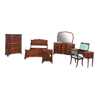 Morganton Antique Serpentine Bedroom Set - Set of 7