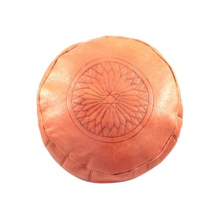 Orange Leather Moroccan Pouf Ottoman