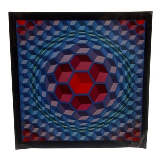"1971 Victor Vasarely ""Sphere Blocks"" Print"