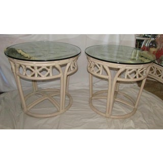 Ficks Reed Glass & Bamboo Side Tables - Set of 2
