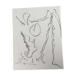"Erik Sulander ""Apple Picker"" Ink on Paper Original Surrealist Drawing"
