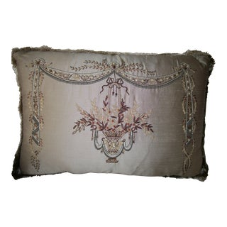 Vintage Hand Embroidered Silk Chandelier Pillow