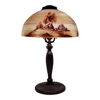 Antique Signed Pittsburgh Electric Reverse Painted Table Lamp