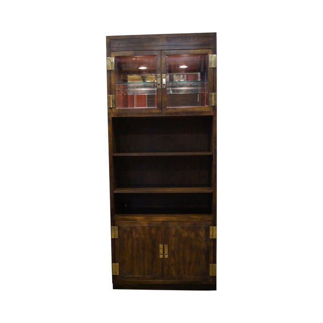 Henredon Campaign Oak Bookcase with Curio Top - Image 1 of 10