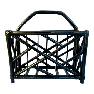 Vintage Bamboo Chippendale Magazine Rack