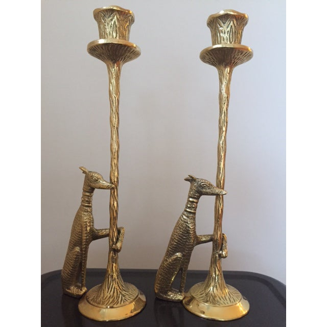 Brass Greyhound Candle Holders - a Pair - Image 2 of 6