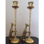 Image of Brass Greyhound Candle Holders - a Pair