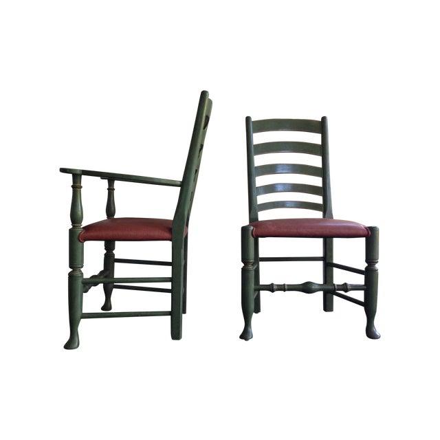 Image of English Walnut Ladder Back Chairs - Set of 6