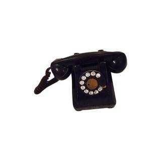 Vintage 1940's Black Bakelite Metal Dial Phone