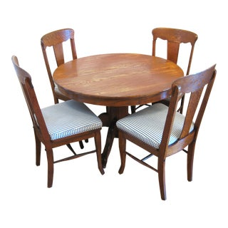 Round Claw Foot Oak Dining Set