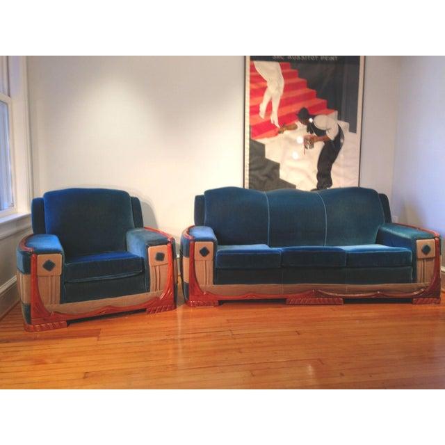 Art Deco Mohair Sofa & Armchair - A Pair - Image 2 of 11