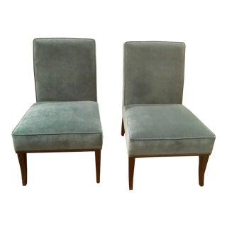 Ambella Home Blue Velvet Gigi Slipper Chairs - a Pair